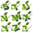 Swoosh alphabet with leaf icon Set 3