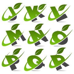 Swoosh alphabet with leaf icon Set 2