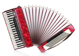 Retro accordion isolated on white