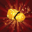 Two golden dice on shiny background
