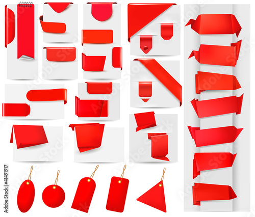 Big collection of red origami paper and stickers.