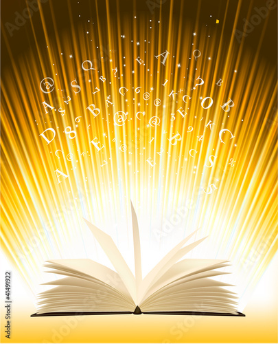 Opened magic book with magic light. Vector