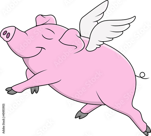 Pig Flying Cartoon