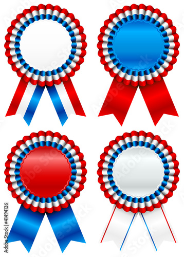 4 Red/Blue/White Award Badges USA