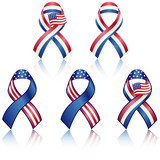 American flag ribbons set vector isolated on white