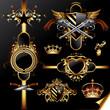 set of ornamental golden labels