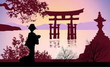 Geisha i Mount Fuji