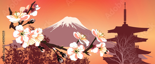 Foto op Plexiglas Japan Sakura mountains and Japanese houses