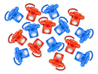 red and blue phones