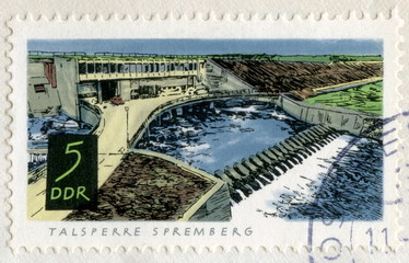 "Canceled german stamp ""Spremberg dam"""
