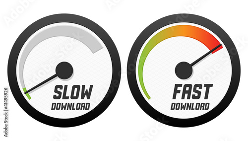 Speedometers with slow and fast download. Vector illustration. - 41495926