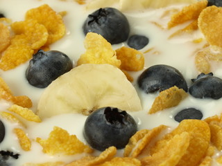 Yogurt with muesli, closeup