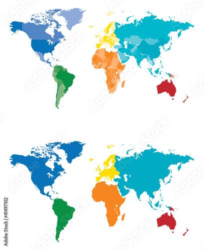 Kontynent Kolor i mapa Kraj
