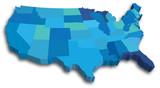 Fototapety Blue 3D USA State map