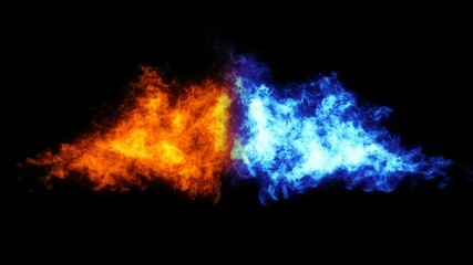Two flames against each other with alpha