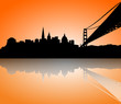 San Francisco Skyline Silhouette sunset
