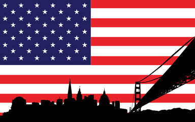San Francisco Skyline and flag of USA