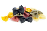 Dyed Farfalle Rigate Pasta isolated poster