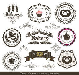 Set of vintage retro bakery labels and decoration elements.