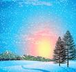 Sunset winter landscape