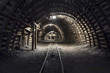 Leinwanddruck Bild - Underground tunnel in the coal mine