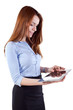 young attractive business woman holding a tablet pc