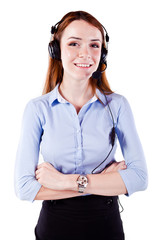 Attractive young  woman call center support