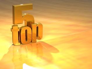 3D Top 5 Gold Text