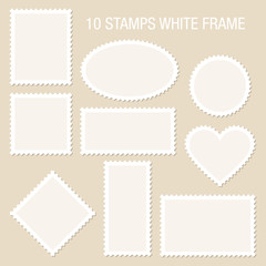 10 Blank Stamps White Frame Beige Background