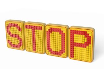 cube type alphabet STOP