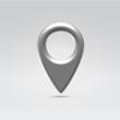 Navigation point glossy silver symbol