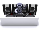 Robot  DJ mixing records on turntables