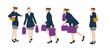 5 silhouettes de femme tenant des sacs - shopping