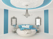 Round bed in baroque interior. Luxurious furniture in  Blue room