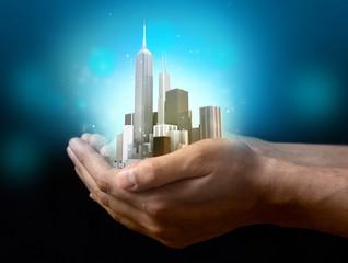 Business city center on hands