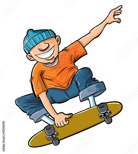 Cartoon of boy jumping on his skateboard.