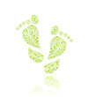 Go Green Eco Pattern in Foot Silhouette