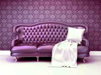 Luxurious leather sofa with covering  in interior with ornament