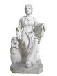 Old statue of the  greek muse Thalia isolated on white