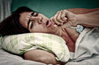 Grunge portrait of sick sickwoman coughing