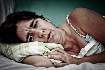 Grunge portrait of sick woman