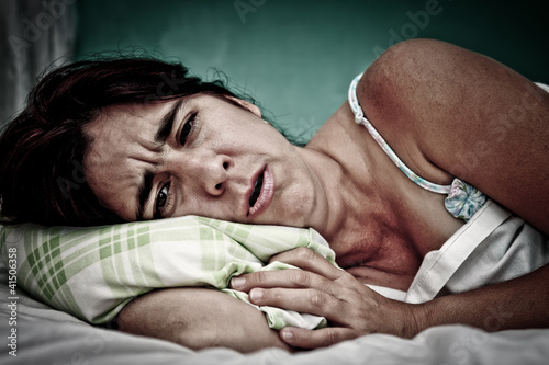 Grunge portrait of sick woman