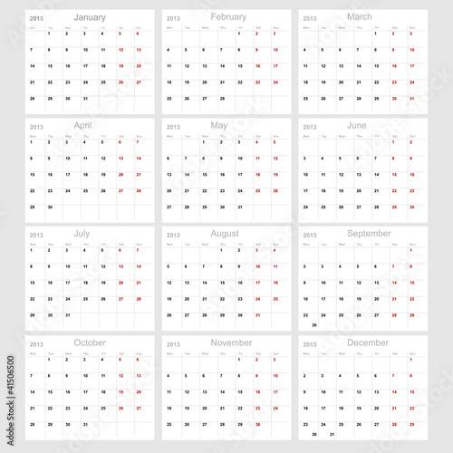 Vector calendar 2013