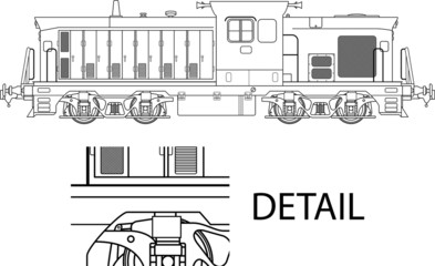 High detailed vector illustration of modern locomotive