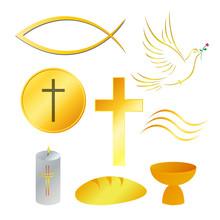 Religion symbole, golden, Vektor-Illustration