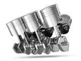 Pistons and Crankshaft isolated on white background ( V8 Engine)