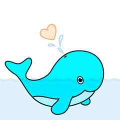 Cute baby whale cartoon character blowing a heart water splash