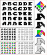 Tangram font, fixed-height alphabet, letters A,B,C,D,E, 5 styles