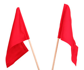 Red signal flags isolated on white