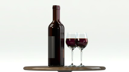 Glass of red wine with bottle. Alpha transparency